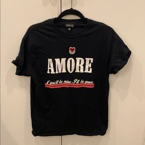 Tops shop black t shirt Amore Sz 8-10 Love❤️ Italy